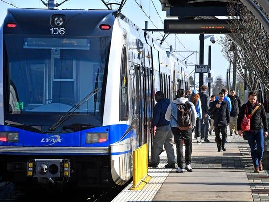 A Charlotte Area Transit System platform on March 15.
