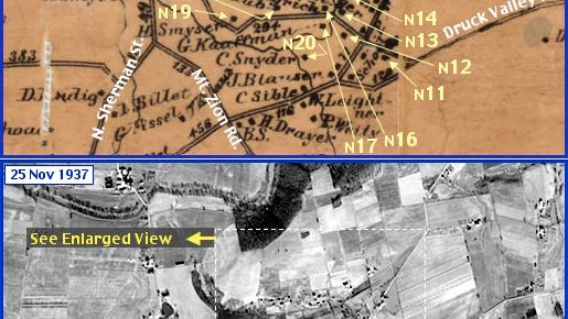Lower Glades Area in what is now Springettsbury Township; from Shearer's 1860 Map of York County, PA & Penn Pilot Aerial Photo, from Nov. 25, 1937, of Same Area (Annotations by S. H. Smith, 2015)