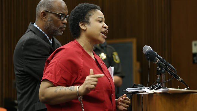 Mitchelle Blair speaks during her sentencing about how one of the fathers, Alexander Dorsey and his family were never there for his kids.