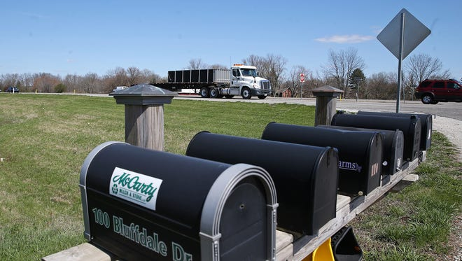 Mailboxes near Ind. 37 on Bluffdale Drive could be affected by the choice of Ind. 37 as the sixth and final leg of the I-69 extension. The affected route stretches north along Ind. 37 from Martinsville to I-465.