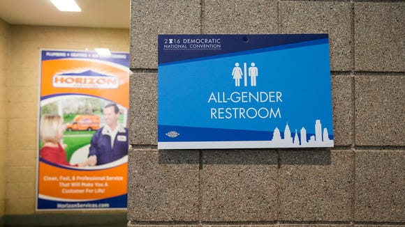 A bathroom sign at the Democratic National Convention