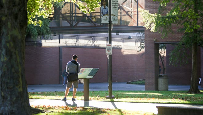 A student stops to look at a campus map on the first day of the fall semester for Chemeketa Community College on Monday, Sept. 26, 2016, in Salem.