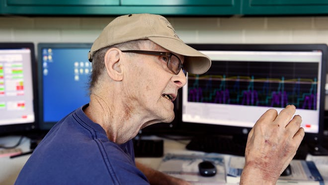 Rodney C. Abel explains the computer monitoring system used at Spring Grove's sewage treatment plant. The plant was recently named for Abel, 76, who has worked at the wastewater facility for about 40 years.