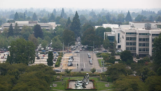 Smokey skies in Salem can be seen from the Oregon State Capitol on Saturday, Sept. 16, 2017.
