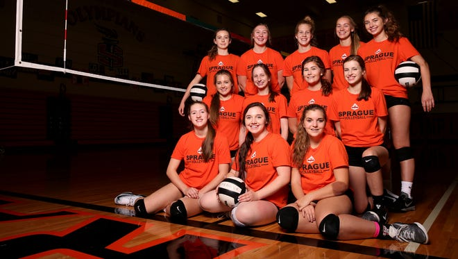 The Sprague varsity volleyball team. Photographed at Sprague High School in Salem on Wednesday, Sept. 27, 2017.