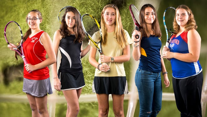 From left to right: Bermudian Springs' Brooke Yurick, South Western's Michaela Sentz, Delone Catholic's Ellie Neudecker, Littlestown's Gigi Zibordi and New Oxford's Kamdyn Balko. Not pictured: Red Lion's Kristina Snyder.