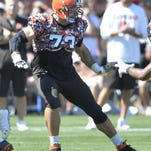 Browns All Pro left tackle Joe Thomas suffered an injury to his right leg at practice on Monday. The team said the injury is not believed to be serious.