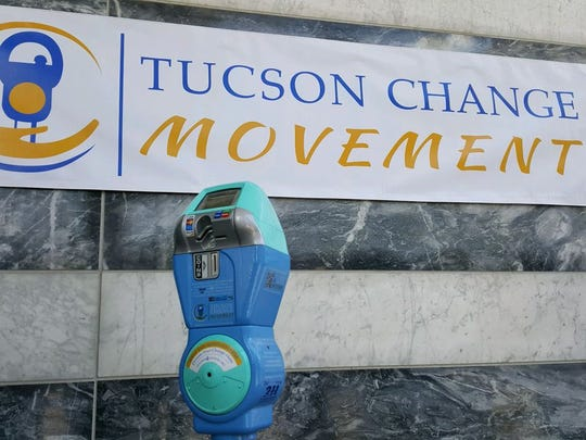 One of the first meters repurposed by the Tucson Change Movement was placed in front of the Pima County Public Library.