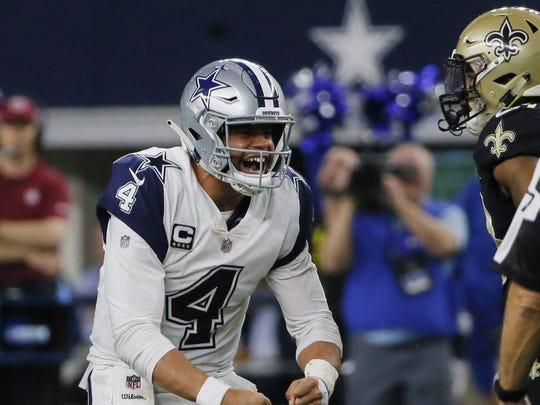 Dallas Cowboys and quarterback Dak Prescott (4) beat the New Orleans Saints in Arlington, Texas, last season.