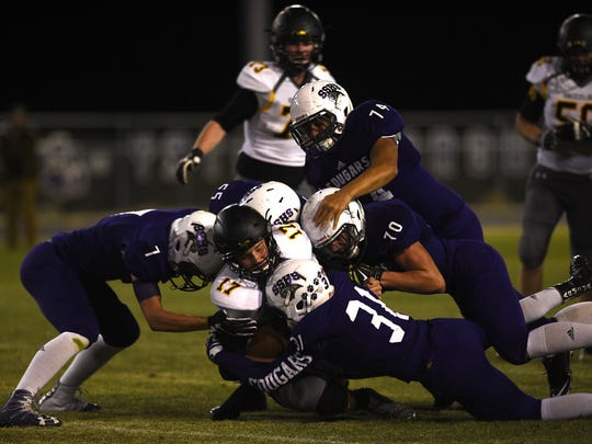 The Spanish Springs defense stops Galena's Derek Kline (17) during their football game at Spanish Springs on Sept. 23, 2016.
