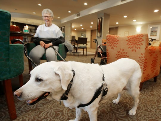 Sharon Jeter watches her faithful companion Missy as they sit in the main lobby of The Reserve at Thousand Oaks.