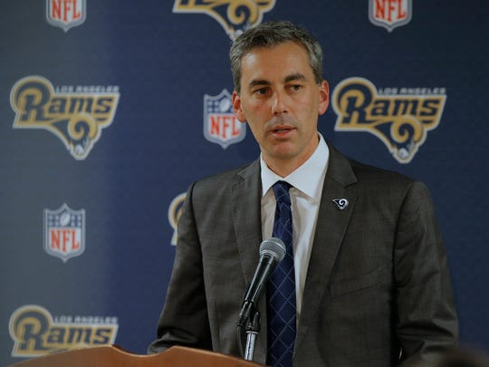 Los Angeles Rams CEO Kevin Demoff talks with the press Monday in Thousand Oaks after the team fired head coach Jeff Fisher.