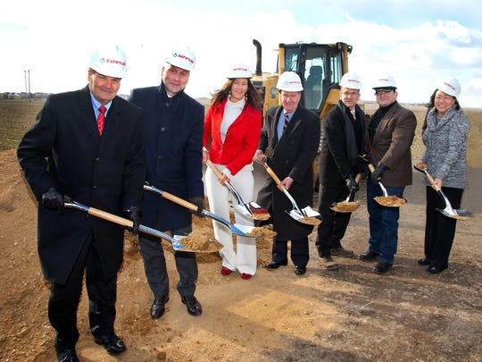 Middletown Mayor Kenneth Branner (far left) talked about the significance of bringing Datwyler Sealing Solutions to Middletown during the company's recent groundbreaking.