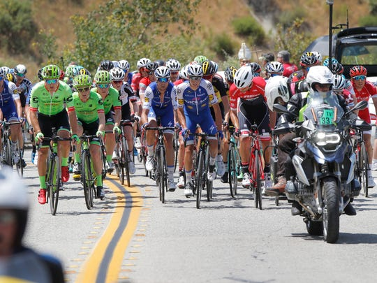 The peloton climbs Balcom Canyon Road near Moorpark during Stage 4 of the Amgen Tour of California.