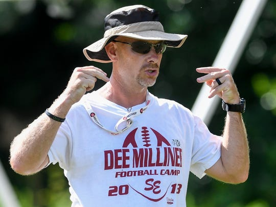 Coach Brian Bradford during football practice at Stanhope Elmore High School in Millbrook, Ala., on Wednesday August 16, 2017.