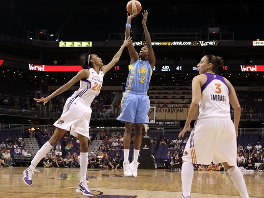 PHOENIX, AZ - JULY 01:  Michelle Snow #2 of the Chicago Sky puts up a shot against the Phoenix Mercury during the WNBA game at US Airways Center on July 1, 2011 in Phoenix, Arizona.   The Mercury defeated the Sky 97-84.  NOTE TO USER: User expressly acknowledges and agrees that, by downloading and or using this photograph, User is consenting to the terms and conditions of the Getty Images License Agreement.  (Photo by Christian Petersen/Getty Images)