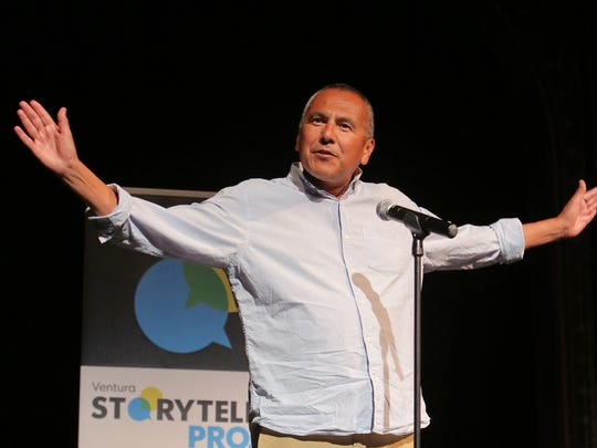Fred Alvarez, of Ojai, a former Los Angeles Times reporter, talks about his adventure as a single parent during the Ventura Storytellers Project: New Beginnings at the High Street Arts Center in Moorpark.
