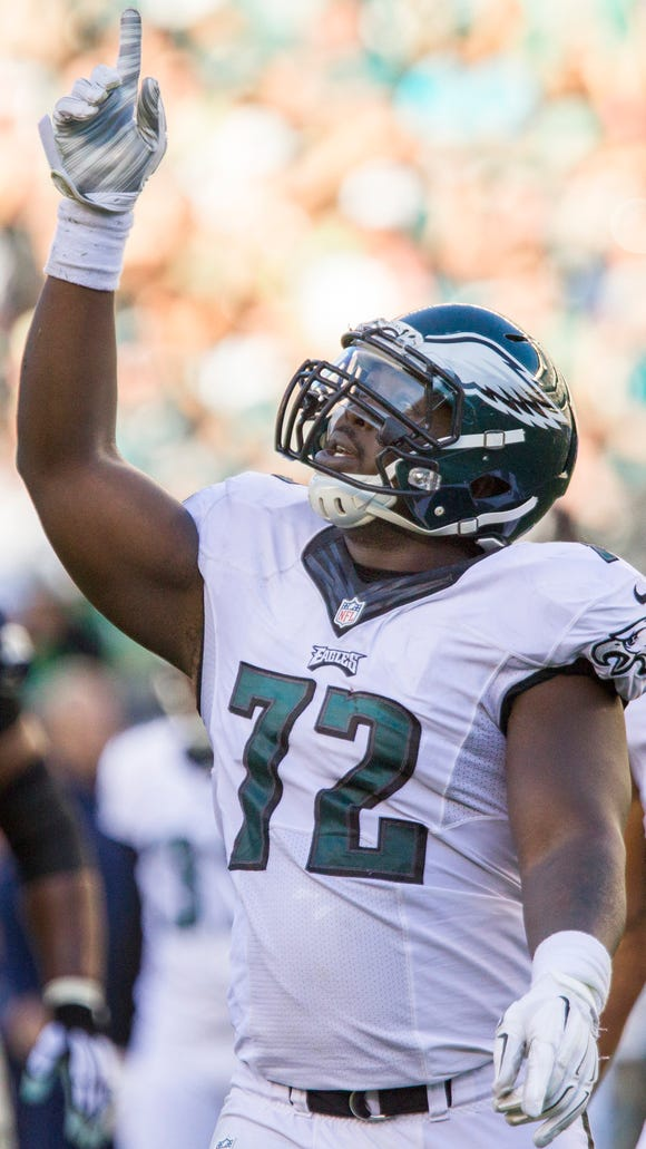 Eagles defensive lineman Cedric Thornton celebrates after sacking Cowboys quarterback Tony Romo during the Eagles 20-10 loss to the Dallas Cowboys in Philadelphia on Sunday afternoon.