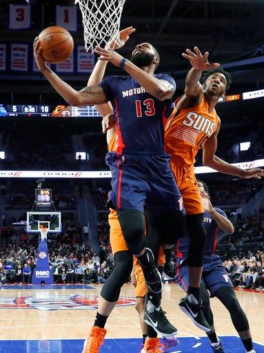 Detroit Pistons forward Marcus Morris drives on Phoenix