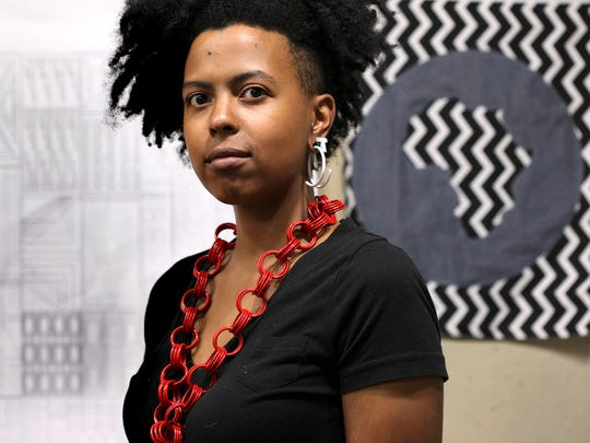Tiff Massey of Detroit is a metals artist at the Redbull House of Art in Detroit in August, 2014.