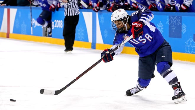United States forward Amanda Pelkey (37) shoots the puck against Canada in the women's ice hockey gold medal match during the Pyeongchang 2018 Olympic Winter Games at Gangneung Hockey Centre.