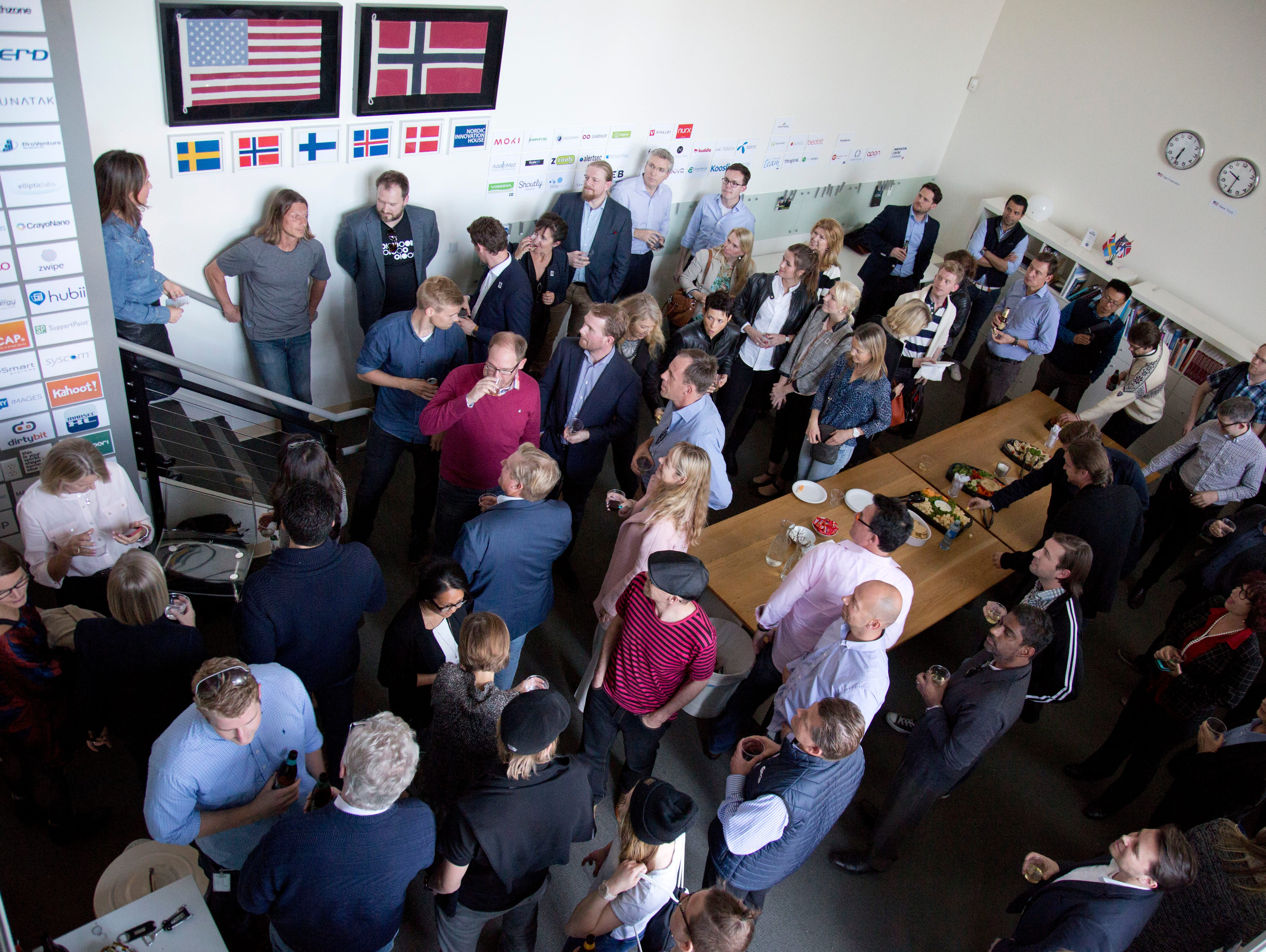 A networking event at the Nordic Innovation House on March 11, 2015 in Palo Alto, Calif. Funded by a consortium of Norway, Sweden, Denmark, Finland and Iceland, the space provides a