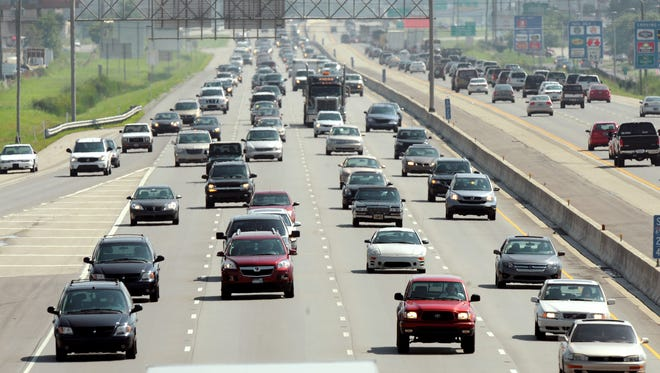 Congested traffic flows north on I-69 near the 96th Street exit.