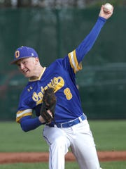 Ontario's Nolan Hatfield pitches at Clear Fork on Wednesday.