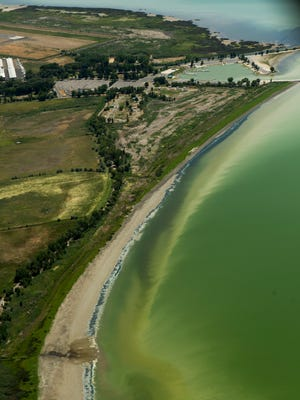 This Thursday, July 14, 2016 photo shows discolored water caused by an algae bloom near the Lindon Marina in Utah Lake in Lindon, Utah. Utah County health officials said at least eight people have fallen ill after interactions in Utah Lake, which has a potentially toxic algae bloom.
