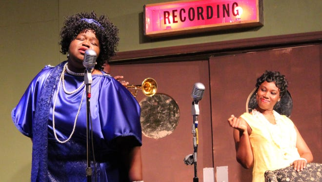 "A scene from Theatre Conspiracy's ""Ma Rainey's Black Bottom,"" starring Cantrella Canady  (left) as ""Mother of the Blues"" Ma Rainey."