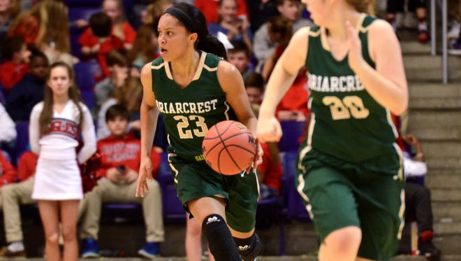 Briarcrest's Savanna Owens (23) starts the fast break during Thursday's Division II-AA semifinal at Lipscomb's Allen Arena.