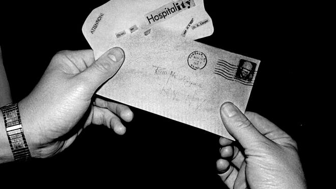 A letter sent to Reno Newspapers allegedly from hijacker D.B. Cooper says Attention: Thanks for hospitality. Was in a rut. Signed D.B. Cooper. The letter was sent from Oakdale, Calif., and received here on Nov. 29, 1971. Reno Evening Gazette file photo