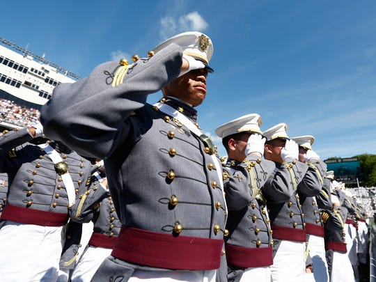 Cadets from the Class of 2017 at The United States Military Academy at West Point take part in their graduation and swearing-in ceremony on Saturday, May 27, 2017.  Cadets are sworn as second lieutenants in the U. S. Army upon graduating.