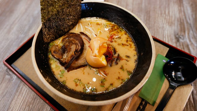 A bowl of ramen at Karai Ramen + Handroll, on Republic Road just east of Campbell Avenue, on Thursday, Feb. 8, 2018. The new restaurant serves Japanese ramen dishes, hand-roll sushi, rice bowls, steamed buns and even desserts like green tea creme brulee.