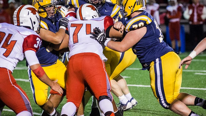 Delta faced off against New Palestine at Delta High School Friday, Oct. 16, 2015.