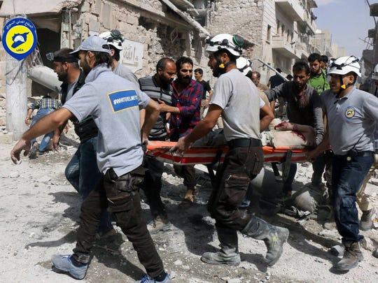 Syrian Civil Defense (White Helmets) emergency workers
