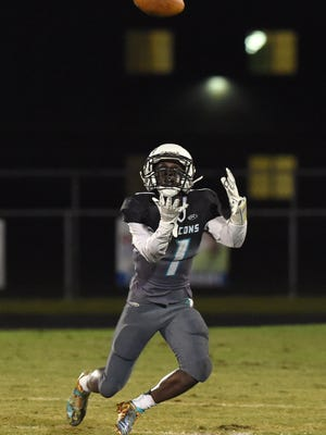Tyrese Jackson goes in for a catch at a game between Jensen Beach and Sebastian River at Jensen Beach High School. Jackson is No. 11 on the TCPalm Super 11.