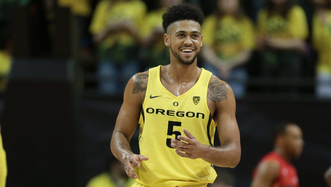 Feb 4, 2017; Eugene, OR, USA; Oregon Ducks guard Tyler Dorsey (5) looks to the bench following a shot against the Arizona Wildcats in the first half at Matthew Knight Arena. Mandatory Credit: Scott Olmos-USA TODAY Sports