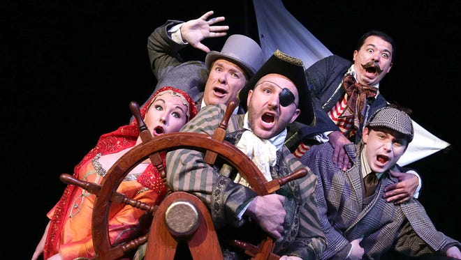 """Kate Fitzgerald, Eric Olson, Tyler Kirkholm, Jason Rainwater and Dakota Rachuy take a wild ride in """"Around the World in 80 Days"""" through April 26 at the Des Moines Community Playhouse."""