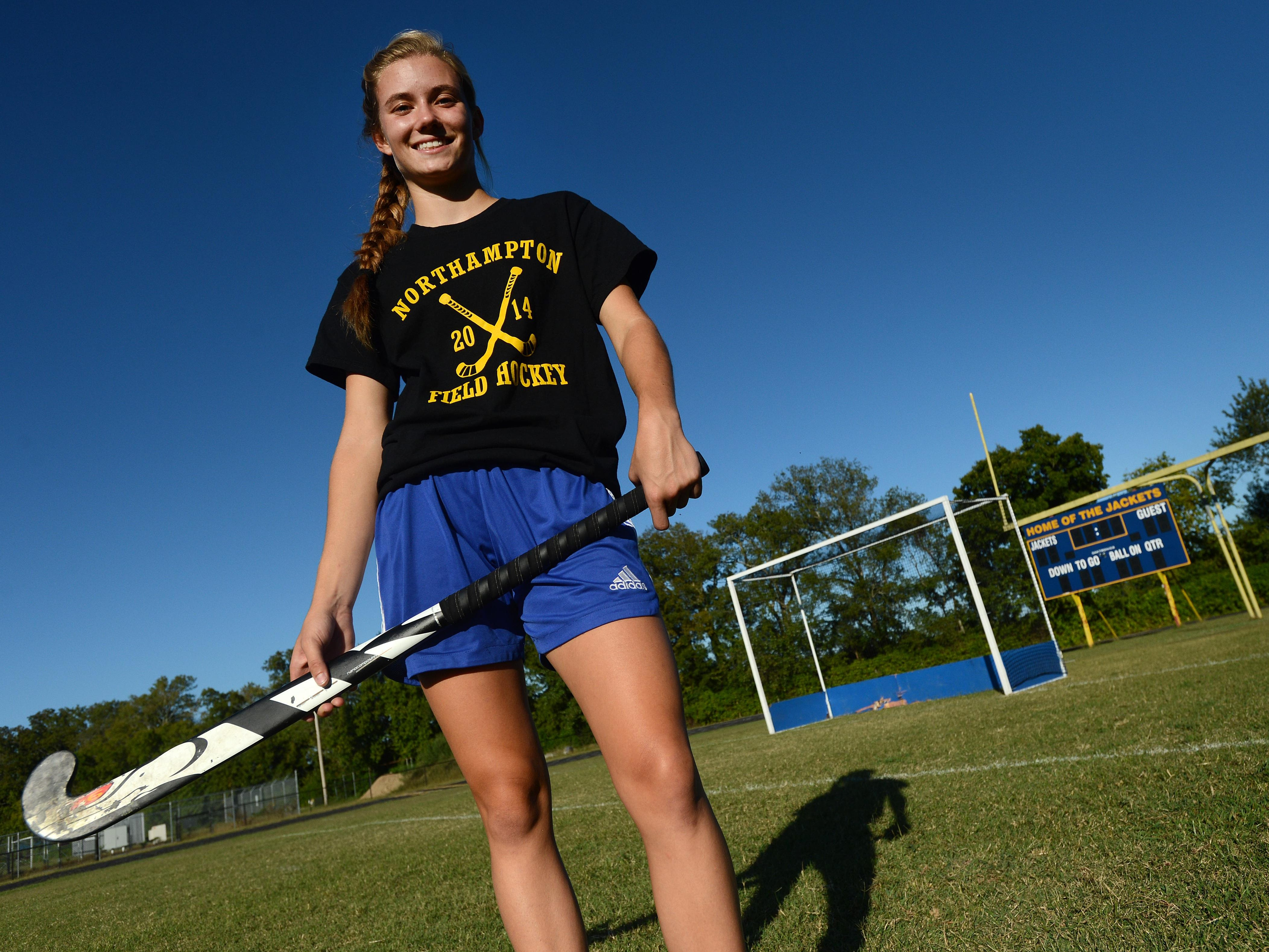 Northampton field hockey's Erica Head poses for a portrait after practice in Eastville on Tuesday, Sept. 15, 2015. Head is a senior captain for the Yellow Jackets this season and has been playng field hockey for the school since the 8th grade.