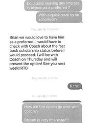 This is a screenshot of a string of text messages between Mason Football Coach Brian Castner and a coach at Western Michigan University.
