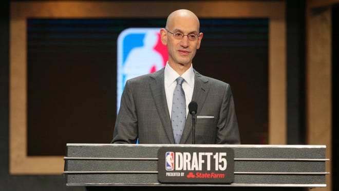 NBA commissioner Adam Silver speaks at the conclusion of the first round of the 2015 NBA Draft at Barclays Center.