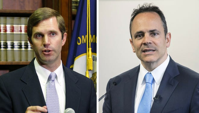 Democratic Attorney General Andy Beshear, left, and Republican Gov. Matt Bevin