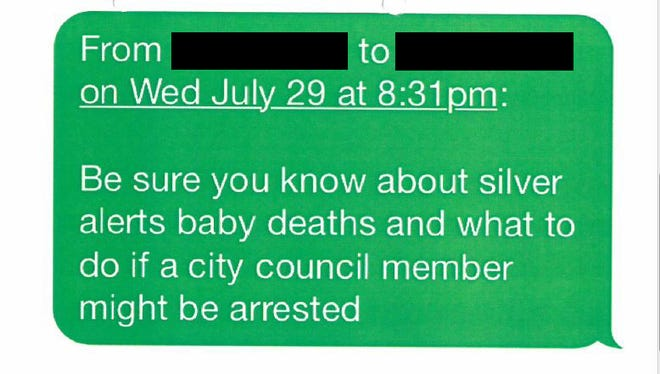This text message between Riverside County sheriff's deputies is an example of how employees shared information about a 2015 promotional exam, which was supposed to be confidential.