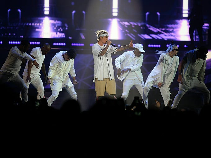 Justin Bieber performs during his Purpose World Tour
