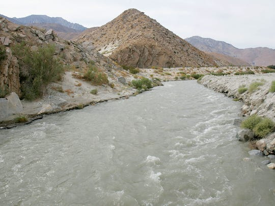 Water from the Colorado River flows toward percolation
