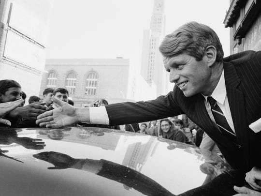 A&E Home Video/The History Channel. 1968 With Tom Brokaw Description:   RFK, December 1967.  Senator Robert Kennedy campaigning for President.  Robert Kennedy, Democratic Senator from New York, greets his supporters at Fort Greene during his campaign for president. --- DATE TAKEN: rec'd 02/08  By JP Laffont   Sygma / CORBIS , Source: foundry       HO      - handout   ORG XMIT: ZX66763