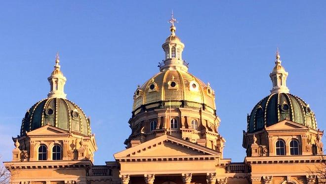 Domes atop the Iowa Capitol