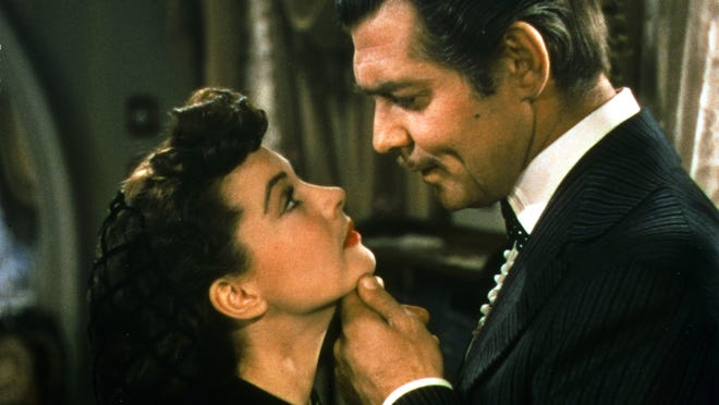 Clark Gable and Vivien Leigh, as Rhett Butler and Scarlett O'Hara. The movie will be screened Sunday and Wednesday at Carmike Cinemas Avenue 16 in Melbourne.