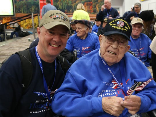 Scenes from the Hudson Valley Honor Flight on April 14, 2018 at Stewart Airport.